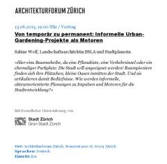 Termineintrag beim Architektenforum Zürich