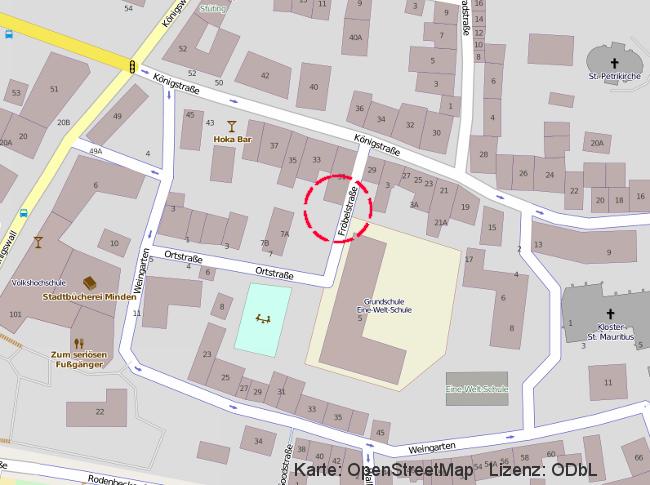 Kartenausschnitt: Fröbelstraße, Minden / Obere Altstadt