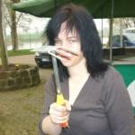 Fürs Bild: Andrea in einer  kämpferischen Pose